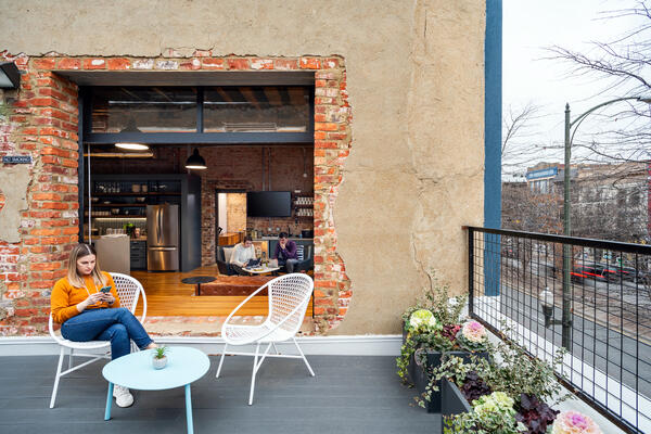 Gather Arts District outdoor workspace