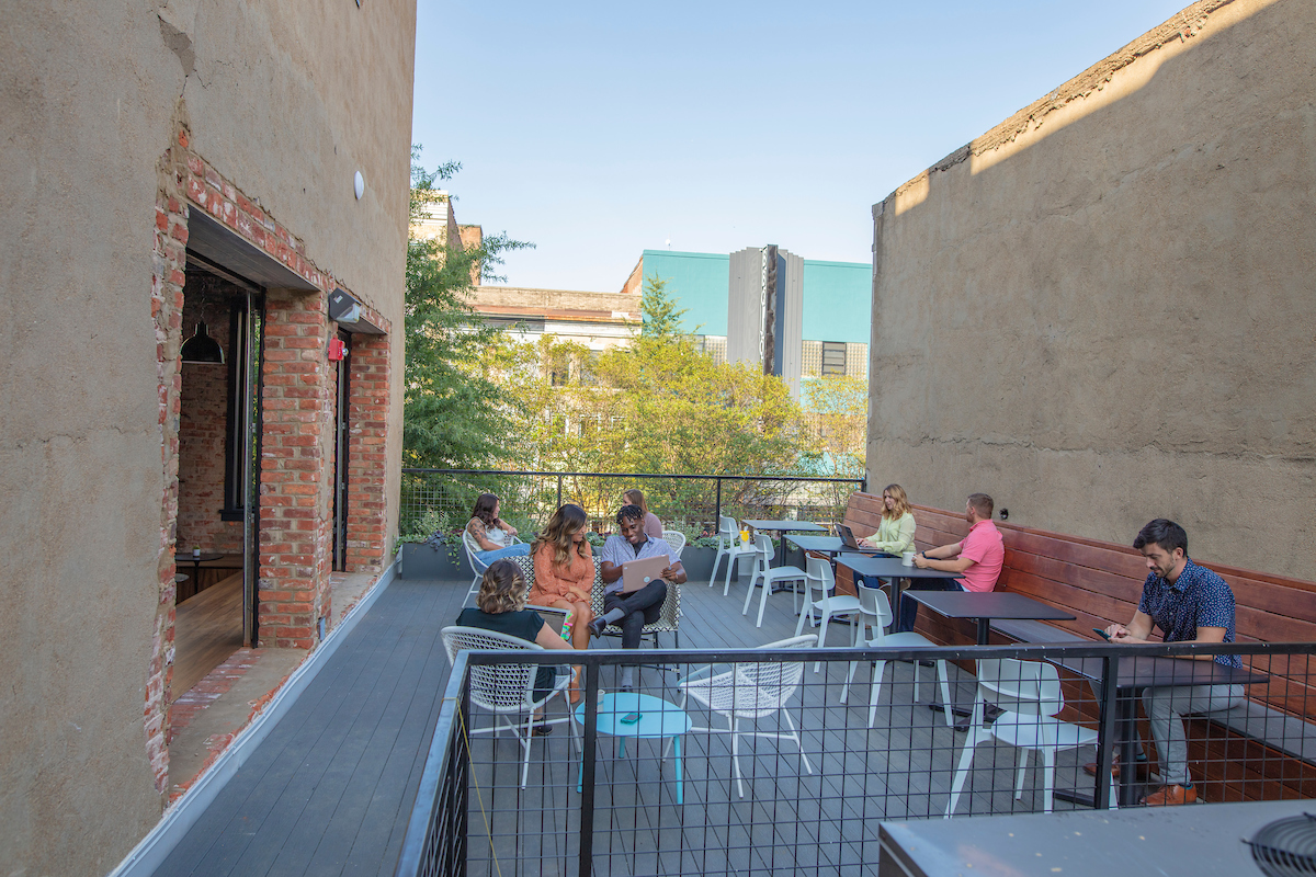 Gather Arts District rooftop deck